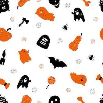 Halloween-muster nahtlos. auf weißem hintergrund kürbis, lutscher, spinne, schädel, geister. stilvolles ornament in minimalistischem design. druck auf stoff und papier. handgezeichnete vektorgrafik