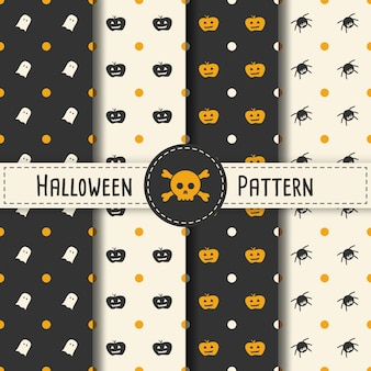 Halloween-muster set hintergrund für halloween party nacht. nahtlose muster halloween vektor für urlaub mit spinne und web für banner, poster, grußkarte, party einladung illustration.