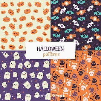 Halloween-musterkollektion im flachen design