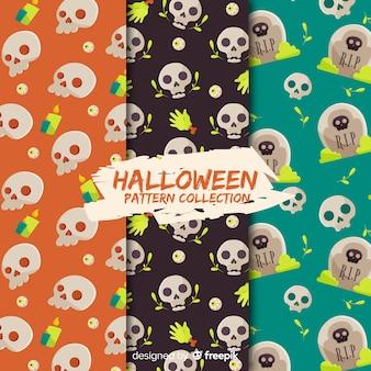 Halloween-mustersammlung mit flachem design