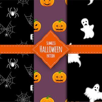 Halloween-mustersatz. cartoon-stil.