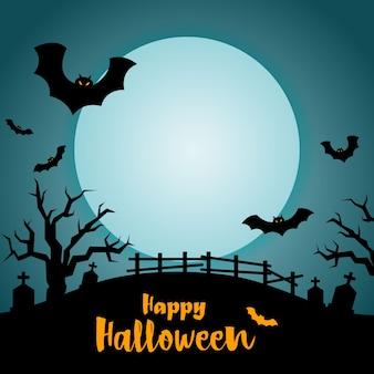 Halloween-nacht am grab, halloween-hintergrund.