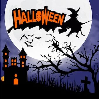 Halloween-nacht hintergrund mit gruseligen schloss und kürbisse