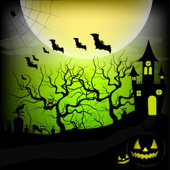 Halloween nacht hintergrund vektor-illustration