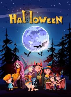 Halloween-nacht, leuchtender mond, nachtsterne, schöne hexenkinder kleiden sich mit besen.