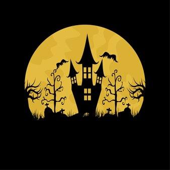 Halloween nacht mit fullmon. halloween mit schloss. illustration.