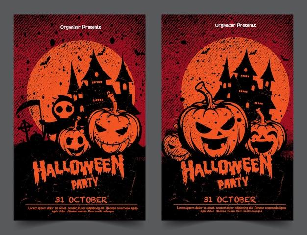 Halloween nacht party banner mit kürbissen