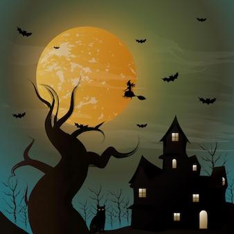 Halloween-nachthintergrund hexe fliegt auf einem besen auf dem hintergrund eines vollmondes über dem c