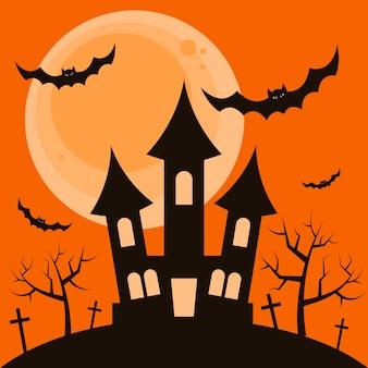 Halloween-nachthintergrund mit dem schrecklichen haus