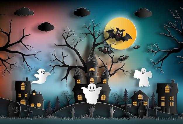 Halloween-nachthintergrund mit geisterhaus.