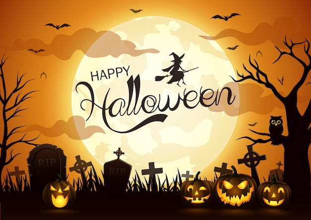 Halloween-nachthintergrund mit kürbis, vektorillustration