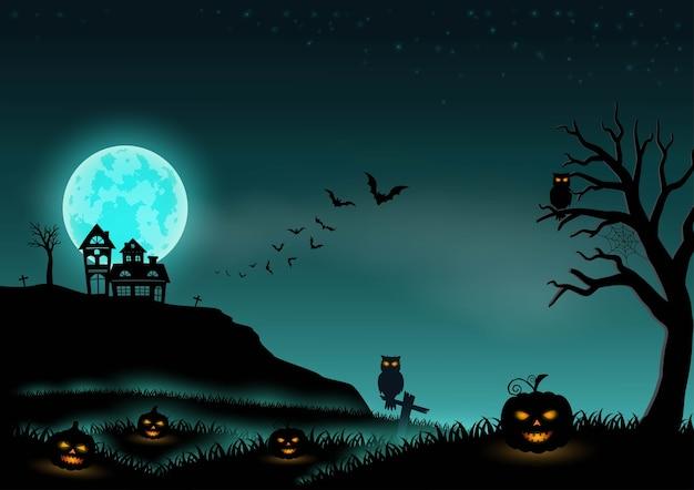Halloween-nachthintergrundlandschaft mit sternen, mond, kürbissen und schloss