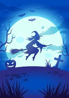 Halloween-nachtillustration mit großem leuchtendem mond, fliegender hexe, kürbis, grab und fledermäusen