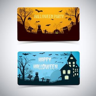 Halloween nachtkarte mit abgerundeten ecken glühenden laternen friedhof spukhaus tiere cartoon-stil isoliert