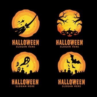 Halloween-nachtlogobündel