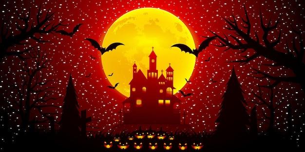 Halloween-nachtmond-komposition mit leuchtenden kürbissen, vintage-schloss und fledermäusen, die über friedhofsebene fliegen