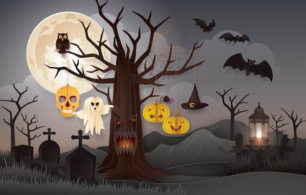 Halloween-nachtparty mit friedhof, abstrakter gespenstischer baum halloweens