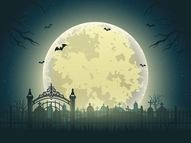 Halloween-nachtweinleseillustration des friedhofs mit trockenen bäumen der grabsteine, die fledermäuse und mond fliegen