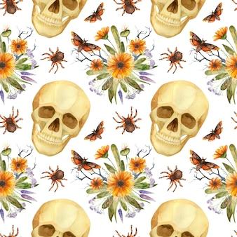 Halloween nahtlose muster aquarell gruselige schädel schmetterlinge und gotische blumenarrangements