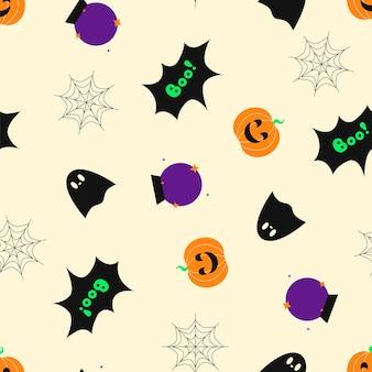 Halloween nahtlose muster halloween-feier 31. oktober mond und sterne magic ball kürbis