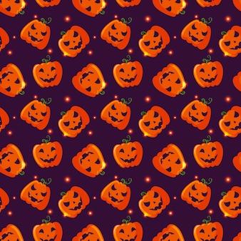 Halloween nahtlose muster mit kürbissen.