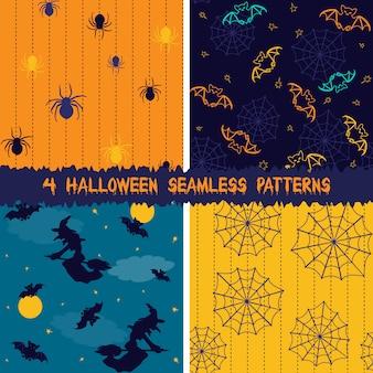 Halloween nahtlose muster sammlung