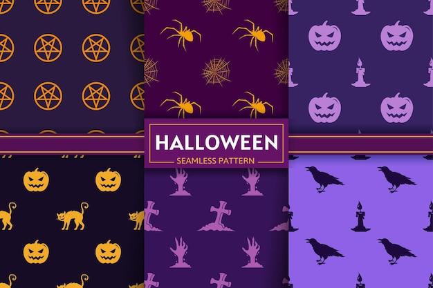 Halloween nahtlose mustersammlung mit spinne, kürbis, katze, fledermaus, grab, zombiehandsilhouetten