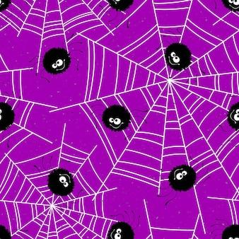 Halloween-nahtloser hintergrund mit spinnen und netz. vektorillustration eps10