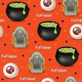 Halloween nahtloser musterhintergrund mit zaubertränken zerreißen bösen blickvektor