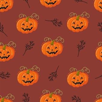 Halloween-nahtloses muster. handgezeichnete vektorillustration mit kürbissen