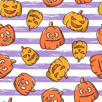 Halloween nahtloses muster mit kürbissen Premium Vektoren