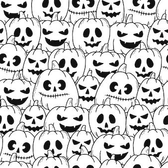 Halloween nahtloses muster mit kürbissen