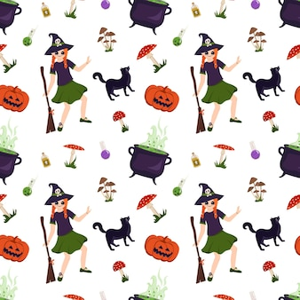 Halloween nahtloses muster mit mädchen hexe schwarzer katzenkürbispilz und fliegenpilzen festlicher druck...