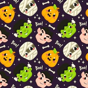 Halloween-nahtloses muster mit nettem geist-avatara