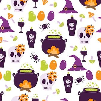 Halloween nahtloses muster mit niedlichen kürbissen der karikatur geister hexen fledermäuse knochen sterne
