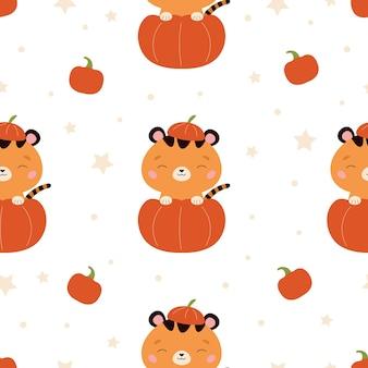 Halloween nahtloses muster mit tiger im kürbis auf weißem hintergrund
