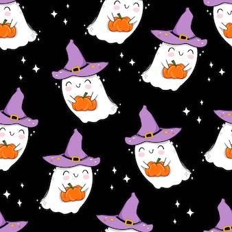 Halloween nahtloses muster niedlichen geist mit kürbis