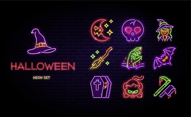 Halloween-neon-vektor-set happy halloween-zeichen auf backstein-hintergrund isoliert