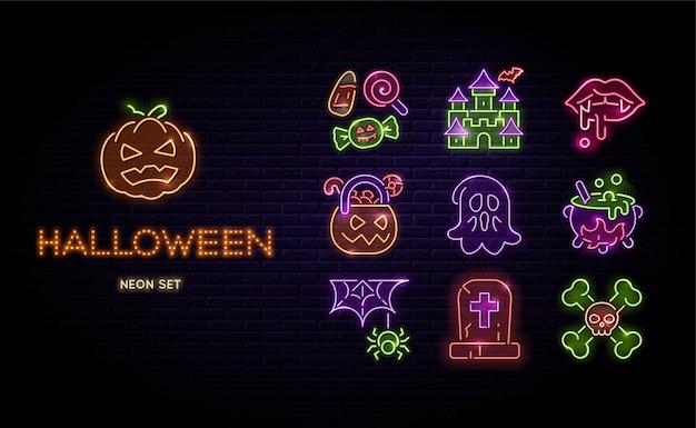 Halloween-neonlicht-vektor-set glückliche halloween-zeichen auf dunklem backsteinhintergrund isoliert
