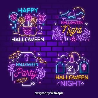 Halloween neonlicht-zeichensammlung