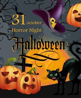 Halloween, oktober dreißig ersten schriftzug mit kürbissen und katze