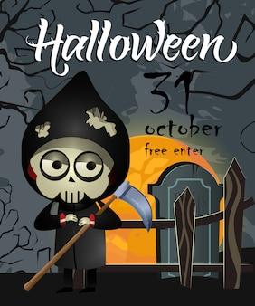 Halloween, oktober dreißig ersten schriftzug mit sensenmann