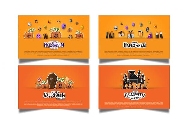 Halloween orange kartensatz