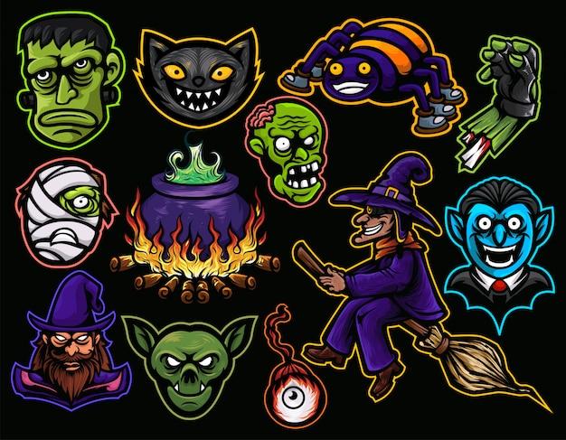 Halloween pack kopf mama, zauberer, dracula, frankenstein, zombie, hexe und spinne