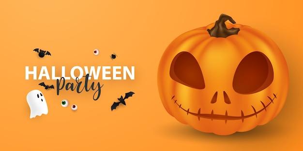 Halloween-papierkunst-partyplakat. stellen sie kürbisse der sammlung beängstigend und lustiges karnevals-hintergrund-konzeptdesign ein