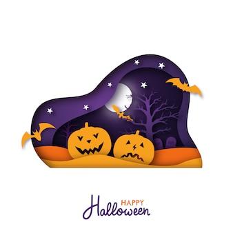 Halloween papierkunstgrußkarte.