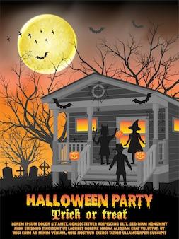 Halloween-parteiplakat oder fliegerschablone mit kinderkostüm vor haus für trick oder leckerei