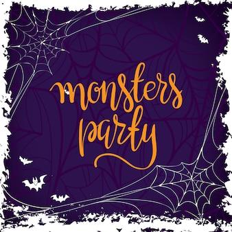 Halloween-parteischablonen-typografieelemente.