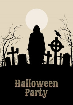 Halloween-party auf einem gespenstischen friedhof