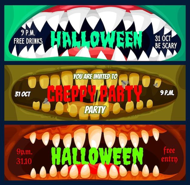 Halloween-party-banner, vorlage für eintrittskarten
